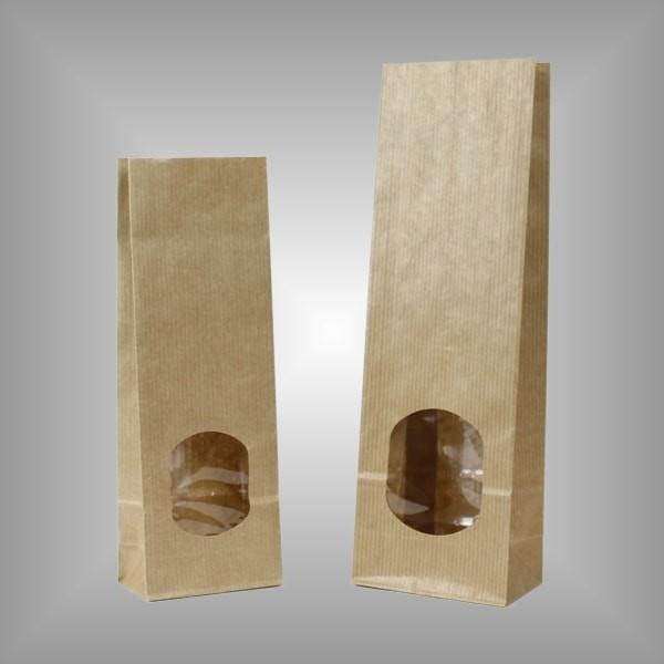 Papierblockbodenbeutel braun mit Fenster