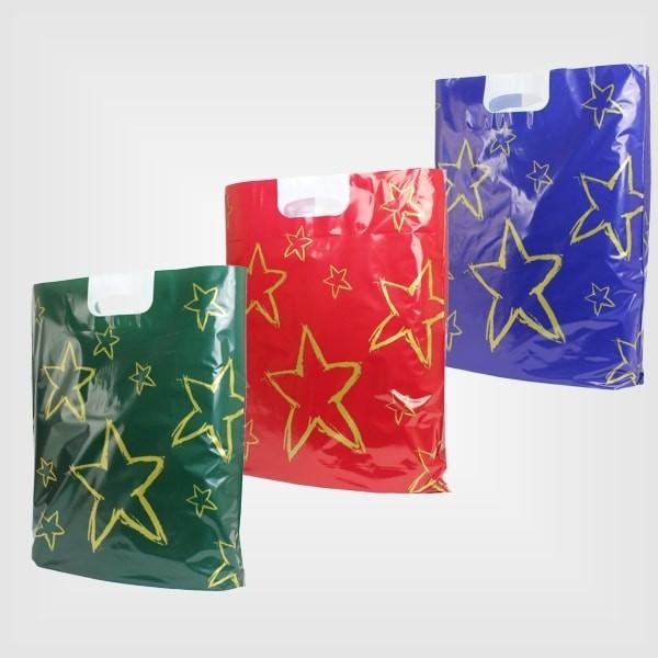 500 Plastiktüten Sterne 38 x 45 + 5 cm