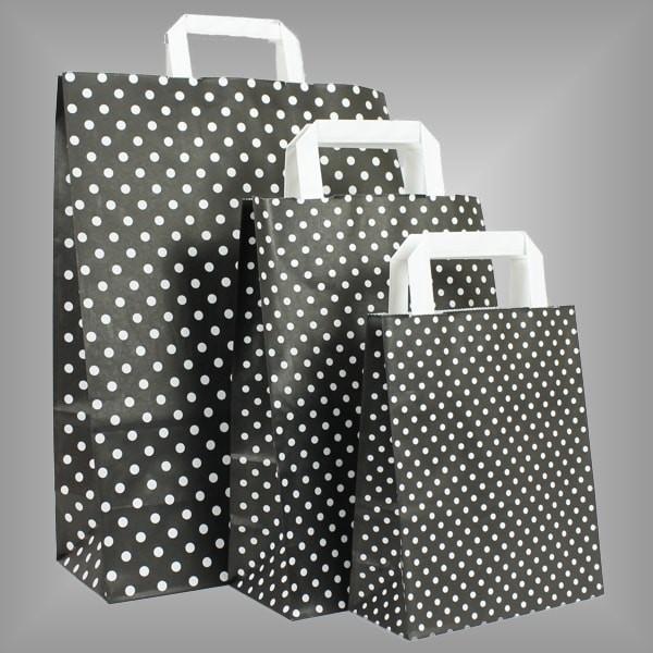 Papiertüten schwarz mit weißen Punkten